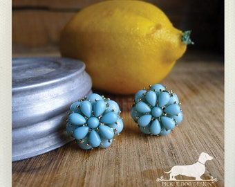 Lemon Mint. Post Earrings -- (Vintage-Style, Turquoise, Blue, Seafoam, Flower Studs, Gold, Shabby Chic, Bridesmaid Jewelry, Gift Under 15)