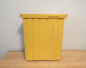 Vintage Small Harvest Gold Yellow Plastic Laundry Hamper