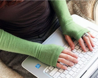 Cashmere Gloves in apple, fingerless mittens, armwarmers