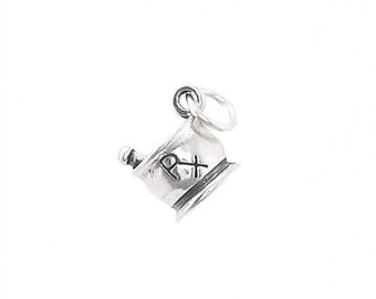 Sterling Silver Rx Mortar and Pestle Pharmacy Charm