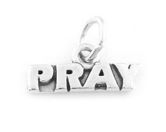 Sterling Silver Pray Charm (Flat Charm)