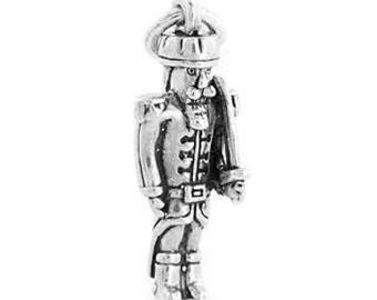 Sterling Silver Christmas Nutcracker Soldier Charm (3d charm)