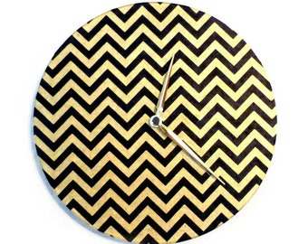 Chevron Wall Clock, Black and Gold, Decor and Housewares, Home and Living, Home Decor, Housewarming Gift, Handmade Paper