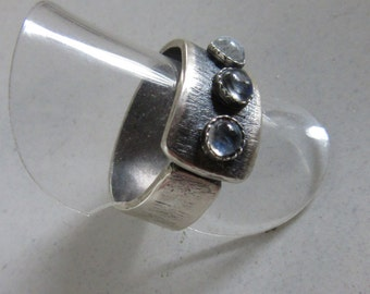 Moonstone Wide Band Ring - Adjustable Open Band Ring