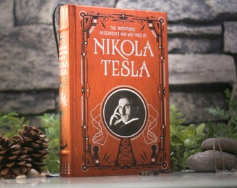 Hollow Book Safe – Nikola Tesla - Inventor of Alternating Current – Electricity - (LEATHER-BOUND) Hollow Book Safe – Copper - Magnetic