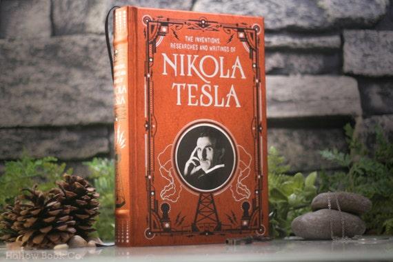 Hollow Book Safe – Nikola Tesla - Inventor of Alternating Current – Electricity - (LEATHER-BOUND) Hollow Book Safe – Copper - Magnetic