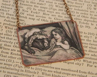 Red Riding Hood necklace Gustave Dore literature literary mixed media jewelry