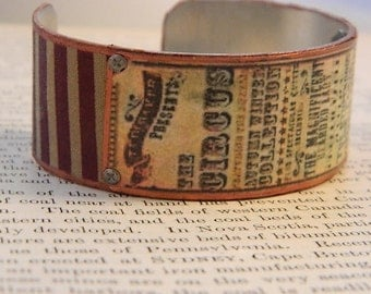 Circus bracelet Circus Jewelry Victorian circus poster art mixed media jewelry