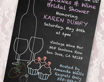 Cupcakes and Wine Bridal Shower Invite