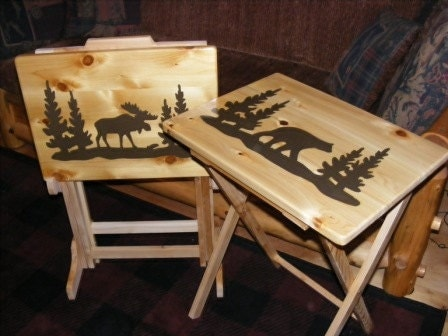 Set Of Two Wood Tv Tray Tables And Rack Moose And Bear Hand