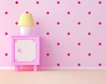 Hot Pink Polka Dot Wall Decals