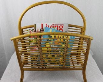 Vintage Rattan Bamboo Magazine Rack