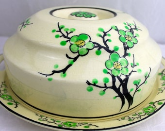 Moriyama Covered Plate and Lid  Cake Plate Japanese Ming Tree Green Cherry Blossom GREEN MING TREE