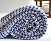 Turkish Towel Peshtemal towel in Blue ivory color pure soft Rice Pattern