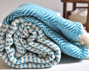 Turkish towel soft cotton peshtemal towel in ivory Turquoise blue color Cotton pure soft, genuine hand loomed by Dokuma Atelier, diamond