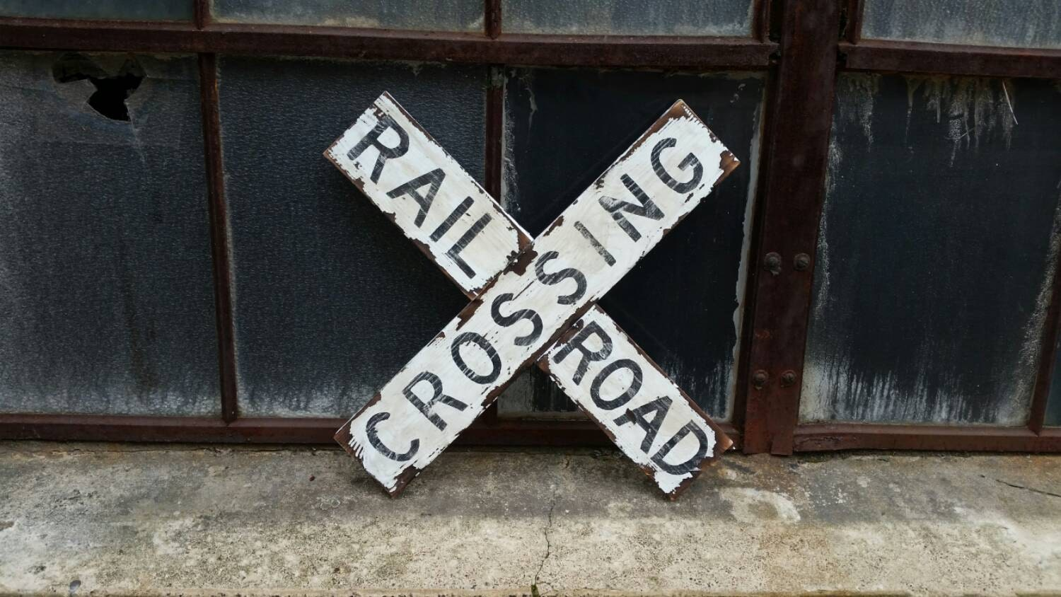 Vintage railroad crossing sign old railroad decor for I sign decoration