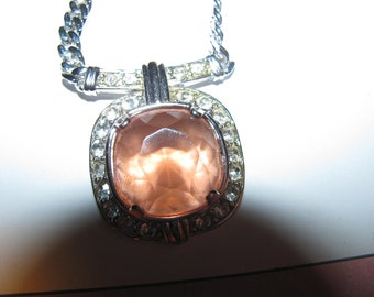 Vintage Monet Necklace Smokey Pink Glass Large Stone Circled With Clear Rhinestones