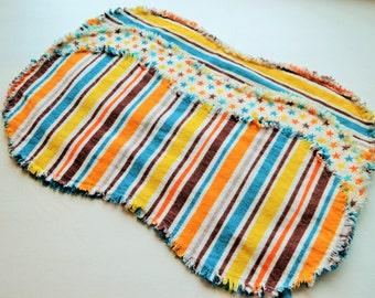 Burp cloths, burp rags, set of 3, baby boy burpcloth, burp rag, flannel burp cloths, stripes, stars, turquoise blue, brown, orange, yellow