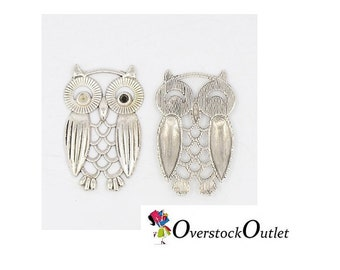 4 Detailed Bright Silver Owl Charms BB607