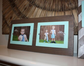 distressed picture frame double picture frame collage frame 5x7 frames aqua picture - Double 5x7 Frame