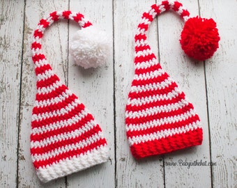 Newborn Elf Christmas Holiday Red and White Striped Crochet Hat