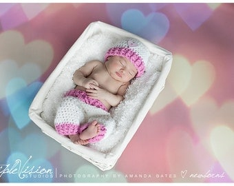 Newborn Pink and White With Heart Button Pants and Hat Set Girls Photo Prop