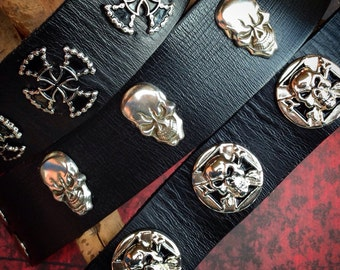 Leather Wristband with your choice of Skulls  or Crosses, Leather Cuff, Biker Bracelet, Black, Skulls