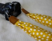 BEST SELLER - Mustard Yellow + White Polka Dot Scarf Camera Strap