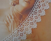 """COUPON Code SAVE30 1 3/4"""" White Rayon Venise Lace Trim (1 yd)"""