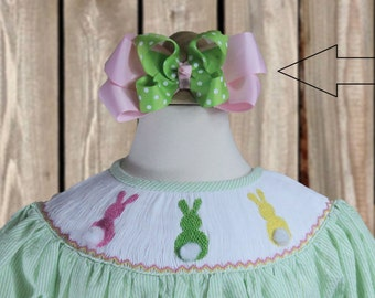 Light Lime Green and Pink Hair Bow