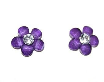 Purple Flower Pierced Stud Earrings With Crystal Rhinestone Centers