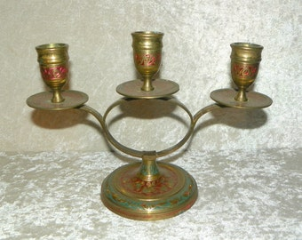Solid Brass 3 Candle Holder with Bright Red & Green Inlay Engraving Oval Center Pedestal Base