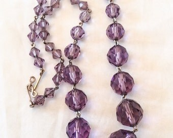 Amethyst Glass Necklace Art Deco Vintage Jewelry WINTER SALE