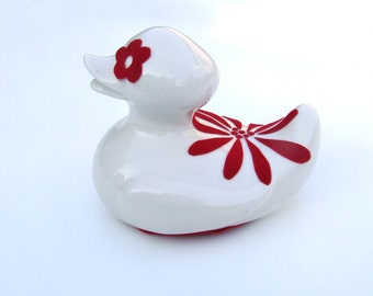 Christmas edition velvet red ceramic duck big flower