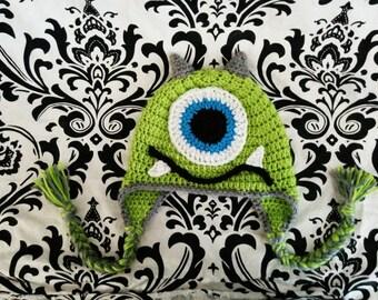 Monster Ear Flap or Beanie Hat Newborn-Adult Sizes Custom Colors