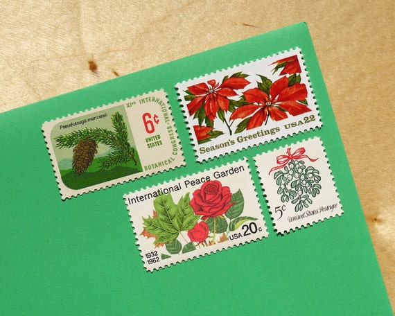 Holiday Floral - Vintage unused postage stamps to post 5 letters or