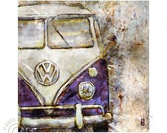 Purple retro grunge VW bus, volkswaggon, illustration, art print