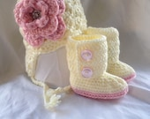 Baby Girl Crochet Boots with Flower Earflap hat