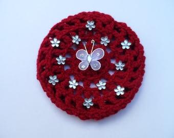 Small Bun Cover with Flower Rhinestones and Butterfly, Crochet Bun Cover, Bun Wrap, Bun Holder, Snood, Ballet Birthday Gift