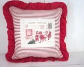 50% CLEARANCE SALE Decorative pillows, rustic pillows, french script pillow, rustic Christmas pillow, farmhouse decor. carte postal