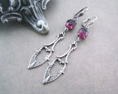 Gothic Jewelry - Victorian Earrings - Amethyst Purple Jewels with Silver Dagger Drops