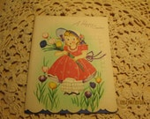 Vintage Unused Greeting Card - Easter Card  A Happy Easter - Little Bo Peep - Sweet Girl in Easter Bonnet with Tulips - Scalloped Edge