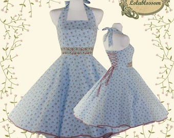 50's vintage dress Tailor Made light blue with little roses Valentine Doris dress