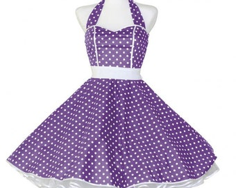 50's vintage dress full skirt purple white polka dots sweetheart Tailor Made after your measurements #0014