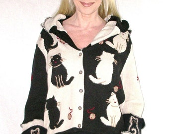 Cheron Cats Elf Hoodie Size Medium / Large Black Tan Photo Negative Kitties Wild Animal Print Pointed Hood Button Down Recycled Cardigan
