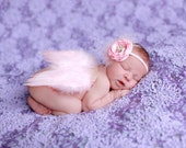 Soft Baby Pink Feathered Angel Wings and Matching Headband Set - Perfect Newborn Photo Prop