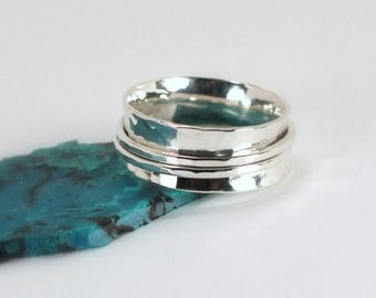 Hammered Silver Spinner Style Ring, Sterling Silver, Made to Order