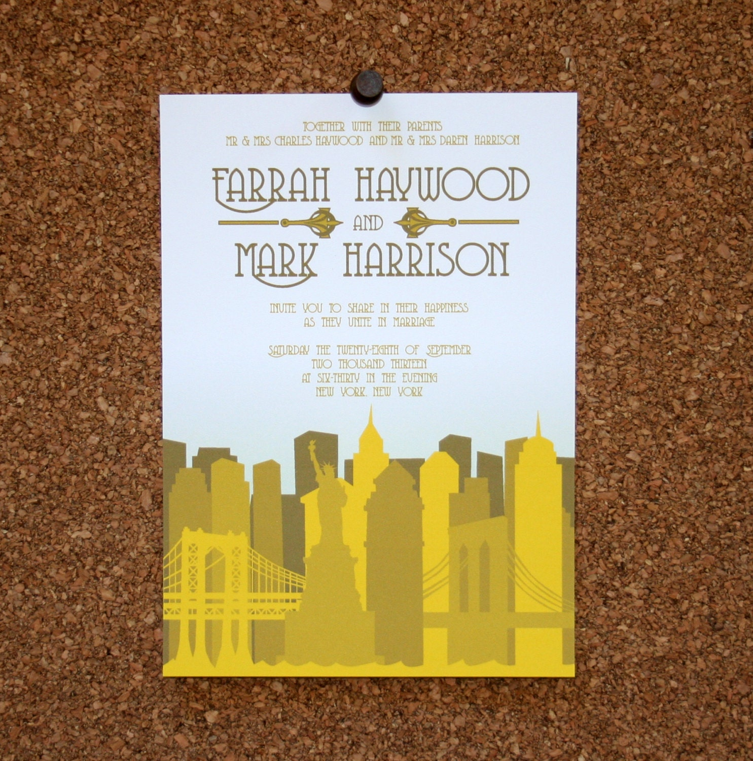 Personalized Skyline Wedding Invitations: Set Of 25 / Custom New York City Skyline Invitation / Yellow
