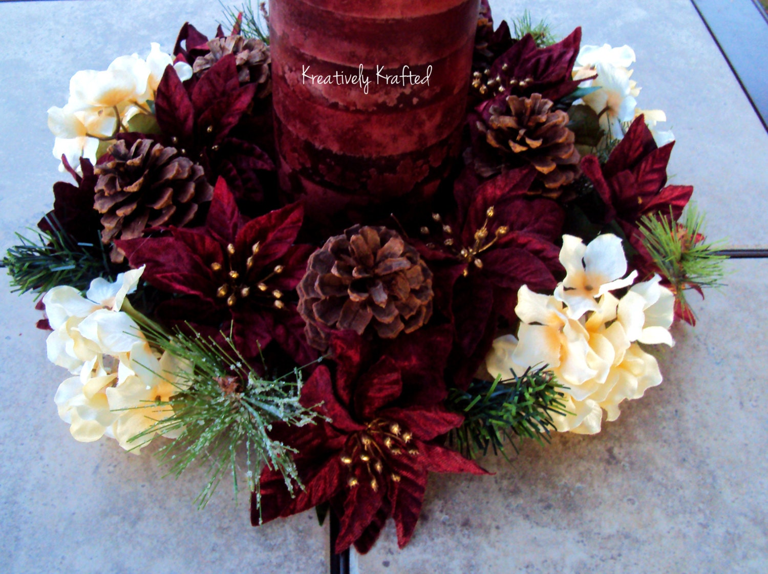 Large christmas candle ring centerpiece burgundy gold cream
