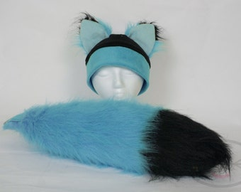 Furry Ear Teal Fox Hat and/or Tail Set